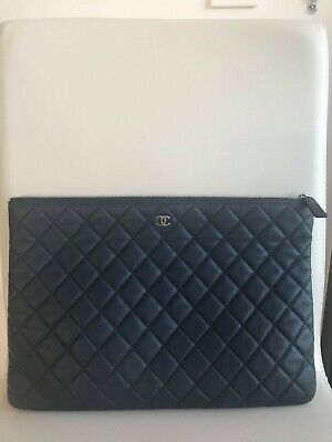 AU1380 • Buy Authentic Year 2016 Chanel Lamb Skin Quilted Classic Clutch, Can Fit Ipad