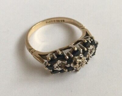 VINTAGE 9ct GOLD SAPPHIRE And DIAMOND CLUSTER RING SIZE L 1/2 • 120£
