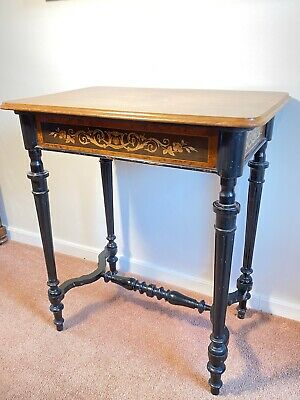 Victorian Ebonised Inlaid Games Table C.1850 Marquetry Turned Carved Fluted Legs • 24.18£