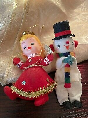 $ CDN6.33 • Buy  Vintage Flocked Plastic Christmas Decorations Lot Of 2 Excellent Condition