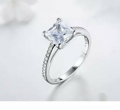 Sterling Silver 925 Princess Cut + Accents Cubic Zirconia Engagement Ring UK  • 14.99£
