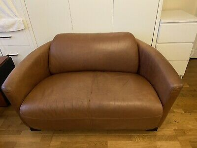 Timothy Oulton Aviator Halo Rocket Leather Tub 2 Seater Sofa  • 599£