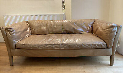 John Lewis Tan Halo Groucho Medium 3 Seater Leather Sofa RRP £2000 • 799£