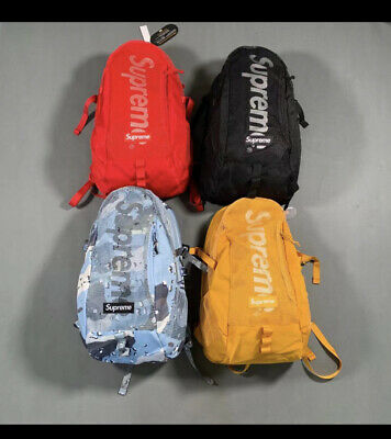 $ CDN54.42 • Buy Supreme 2020 SS Backpack Blue Chocolate Chip Camo/ Black/ Yellow/Red