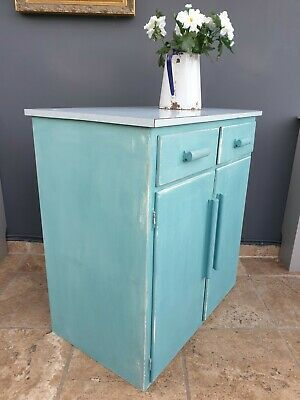 Vintage Retro 1960s Formica Top Shabby Chic Painted Kitchen Cupboard • 175£