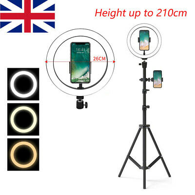 10''LED Ring Light Dimmable Lamp 2.1M Tripod Selfie Camera Video Live Makeup • 13.99£
