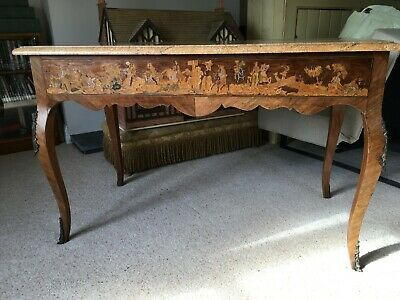 Antique Inlaid Marquetry Table   Marble Top    • 350£