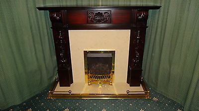 Mahogany Fireplace Surround With Marble  Hearth, Gas Fire And Brass Fender • 400£