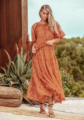 AU149.97 • Buy MINISTRY OF STYLE Splendour Embroidery Maxi Skirt Toffee