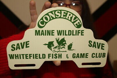 $ CDN15.90 • Buy Fish Game Club Fishing Hunting License Plate Topper Gas Oil Porcelain Metal Sign