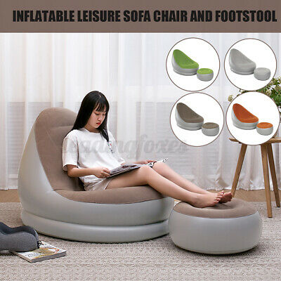 Inflatable Deluxe Lounger Sofa Ottoman Couch Gaming Chair Foot Stool Seat Air • 22.79£