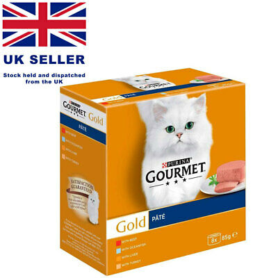 Purina Gourmet Gold Pate Wet Cat Food With Beef And Turkey PACK 8 X 85g UK       • 10.85£