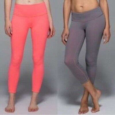 $ CDN63.80 • Buy Lululemon Yoga Cropped Leggings Sz 8 Coral Pink Gray Reversible Wunder Under