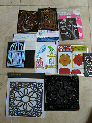 Job Lot X 5 Dies, Bird Cage/Bird Sanctuary/Bird On Branch/Flower/Lace Doily • 12.50£