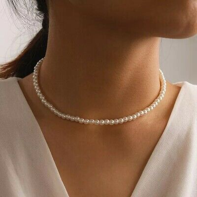 AU12.45 • Buy Women Layer Chain Gold Choker Cute Pearl Pendant Necklace Charm Jewellery
