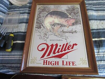 $74.99 • Buy Miller Beer Sign Mirror Wildlife Collection Wisconsin Bass Fishing Game Bar Pub