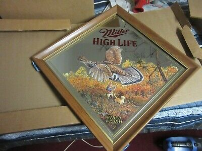$94.50 • Buy MILLER BEER SIGN MIRROR WILDLIFE COLLECTION WISCONSIN GROUSE 1st FLUSH BAR PUB