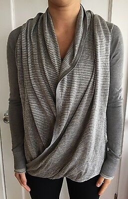 $ CDN36.85 • Buy LULULEMON Size 6 Iconic Wrap Sweater Gray STRIPE Long Sleeve Top