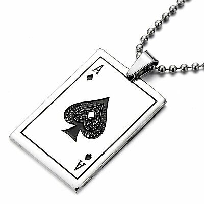 Men's Silver 316L Stainless Steel Ace Of Spades Poker Card Pendant Necklace • 6.99£