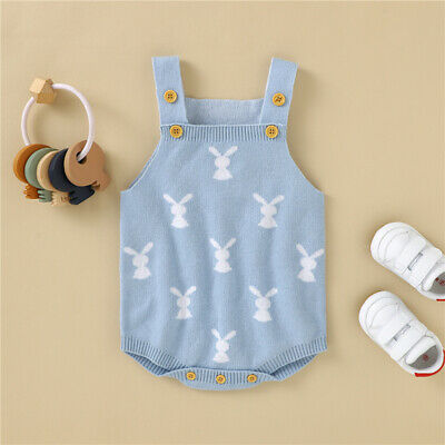 $10.99 • Buy NEW Baby Boys Easter Bunny Rabbit Blue Sweater Romper Jumpsuit