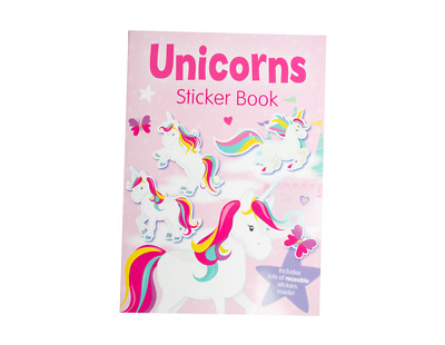 Childrens Girl Unicorns Sticker Book Reusable Stickers Colouring Activity Gift • 2.39£