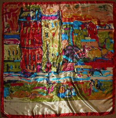 Very Large Colourful Art Silk Square Scarf By MOSI Italian 35ins • 22£
