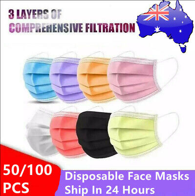 AU13.99 • Buy 50/100x 3layer Disposable Face Mask Protective Mouth Masks Fashion Certified