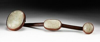 Chinese Antique Carved Jade Wood Ruyi Scepter • 10.68£