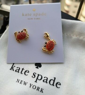 $ CDN28.06 • Buy KATE SPADE New York Shore Thing Pave Crab Gold Stud Earrings