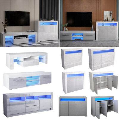£79.99 • Buy LED TV Stand Sideboard Cabinet High Gloss Unit Set White/Grey Living Dining Room