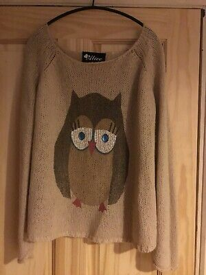 Ladies Alice Oversized Owl Motif Jumper S/M • 1.99£