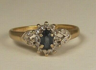 9ct Gold Ring Set With Sapphire And Diamonds L -- 1.9 Grams • 75£