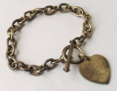32,35 Grams Weight Silver Bracelet With T-bar And Heart Charm • 19.99£