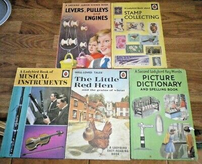 Ladybird Books X 5 Stamp Collecting/Little Red Hen/Musical Instruments/Levers • 5.99£