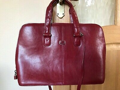 Tony Perotti Red Leather Briefcase • 65£