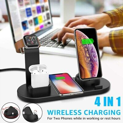$ CDN23.59 • Buy 4 In 1 Wireless Charging Station Dock Charger Stand Apple Watch Air Pods IPhone