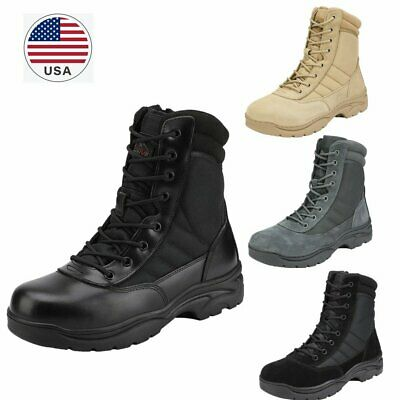 $46.75 • Buy US Men's Zip Side Military Tactical Work Leather Motorcycle Combat Hiking Boots