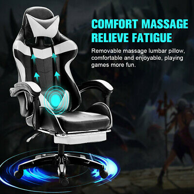 £82.59 • Buy Gaming Chair Office Racing Style Leather Computer Swivel Desk Massage White Seat