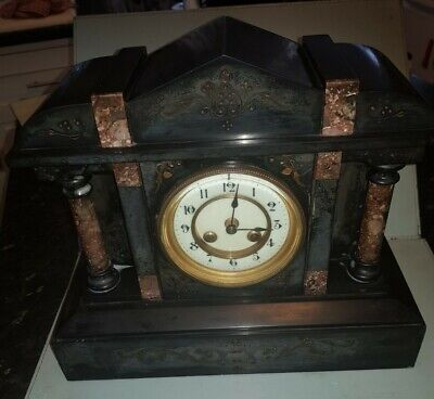 Marble Slate 19th Century Architectural Style Mantle Clock Working • 75£
