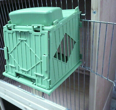 NEW INTEGRATED PLASTIC NEST BOX & PAN SUITABLE FOR CANARIES HOOKS TO CAGE 8cm • 8£