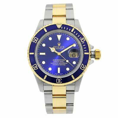 $ CDN15184.72 • Buy Rolex Submariner 18K Gold Steel No Holes Blue Dial Automatic Mens Watch 16613