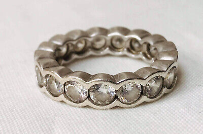 Large Silver And Clear Stones/cz Eternity Ring UK Size Q • 4.99£