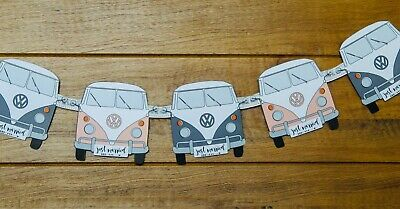 £6.99 • Buy Vintage Camper Van Bunting Mr & Mrs Grey And Pink 6 Vans Attached Ribbon 60