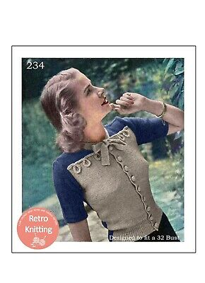 1940s Make Do And Mend Pussy Bow Blouse Knitting Pattern Bust 32 - Copy • 3.99£