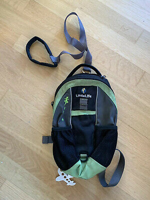 Little Life Small Backpack With Clip Off Reins Grey And Green • 5£