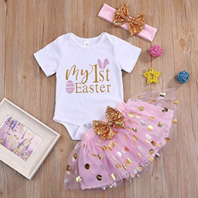 £7.99 • Buy NEW 1st Easter Bunny Baby Girls Bodysuit Pink Tutu Gold Bow Headband Outfit Set