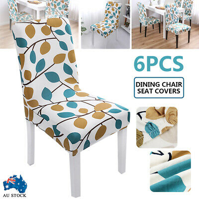 AU23.50 • Buy 6X Dining Chair Seat Covers Slip Stretch Wedding Banquet Party Removable