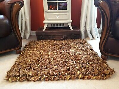 Handmade Rag Rug. Clippy Mat. Traditional Crafted Rug. Square Fireside Rug. • 65£