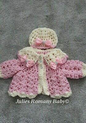 Romany Baby Cardigan And Hat Set Pink And Cream Pink Bling Bows 0-3 Merino Yarn • 20£