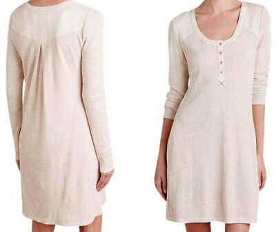 $ CDN75.28 • Buy Anthropologie Thermal Chemise Dress Ivory Small 2 4 Scoop Neck Soft Cozy NWT